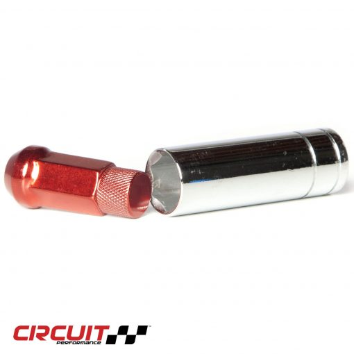 Circuit Performance Forged Steel Extended Closed End Hex Lug Nut for Aftermarket Wheels: Red