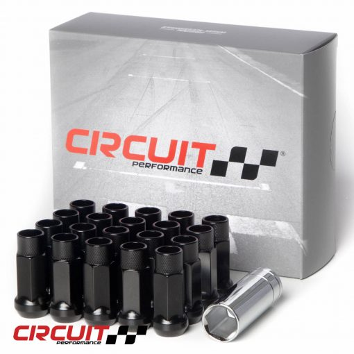 Circuit Performance Forged Steel Extended Closed End Hex Lug Nut for Aftermarket Wheels: Black